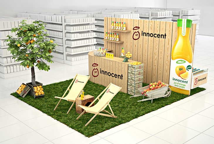 Ambiance nature en hypers pour innocent strada marketing for Stand de degustation