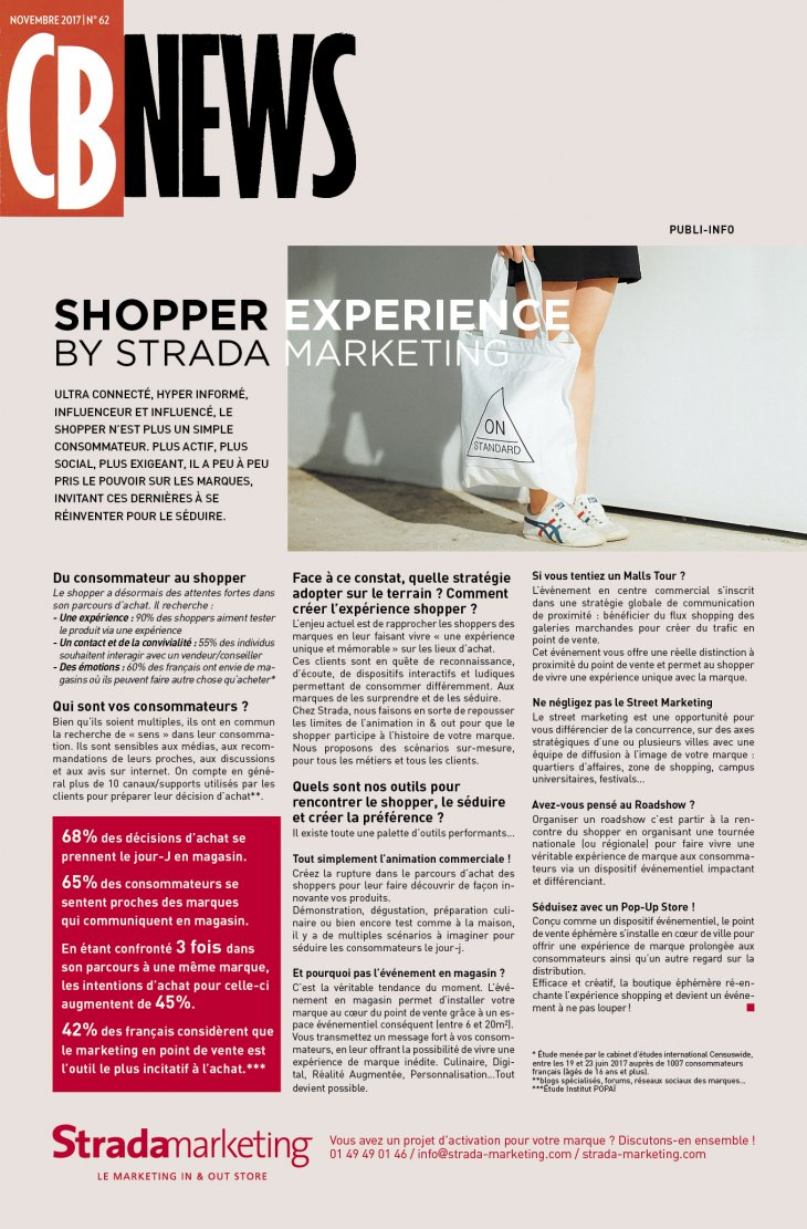 "Retrouvez-nous dans CB News : ""Shopper Experience by Strada Marketing"""